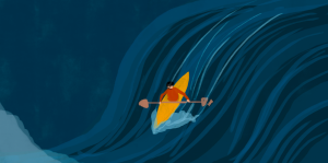 Illustration of a boy rowing a boat