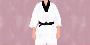 Illustration of a boy in a white Taekwondo attire with a black belt