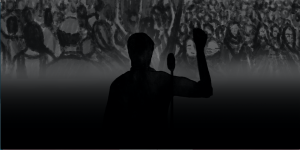 Illustration of a man's silhouette addressing a gathering